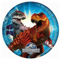 Jurassic World nagy papírtányér - 23 cm-es, 8 db-os
