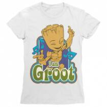 Baby Groot női rövid ujjú póló - I am Groot fehér színben