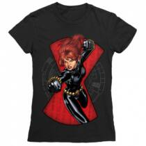 Fekete Özvegy női rövid ujjú póló - Fight