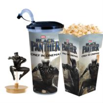Fekete Párduc pohár és Fekete Párduc topper és popcorn tasak (Ugró figura)