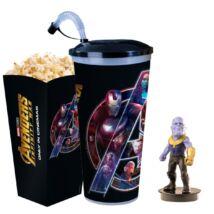 Bosszúállók: Végtelen háború pohár, Thanos topper és popcorn tasak (Sötét pohár) - ELŐRENDELÉS