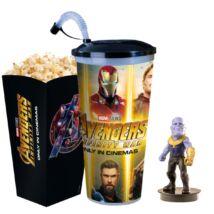 Bosszúállók: Végtelen háború pohár, Thanos topper és popcorn tasak - ELŐRENDELÉS