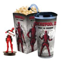 Deadpool 2 pohár, topper és popcorn tasak (Deadpool táblával)