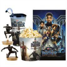 Fekete Párduc pohár, topper, popcorn vödör és plakát szett