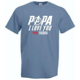Acélkék I Love You 3000 férfi rövid ujjú póló - Papa