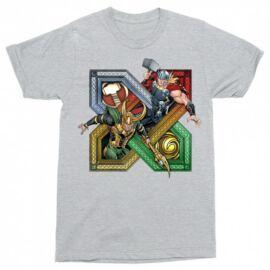 Thor és Loki férfi rövid ujjú póló sportszürke színben