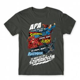 Sötétszürke Apa, Te vagy az én szuperhősöm - DC Comics hősök - férfi rövid ujjú póló
