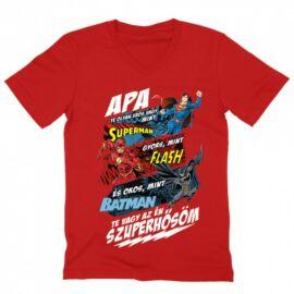 Piros Apa, Te vagy az én szuperhősöm - DC Comics hősök - férfi V-nyakú póló