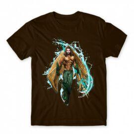 Barna Aquaman férfi rövid ujjú póló - Logó