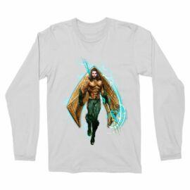 Fehér Aquaman férfi hosszú ujjú póló - Logó