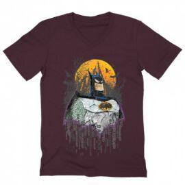 Bordó Batman férfi V-nyakú póló - Batman Comic Grunge