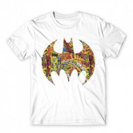 Fehér Batman férfi rövid ujjú póló - Batman Comics Logó
