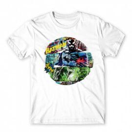 Fehér Batman férfi rövid ujjú póló - Batman Circle