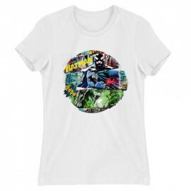 Fehér Batman női rövid ujjú póló - Batman Circle