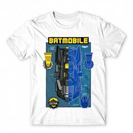 Fehér Batman férfi rövid ujjú póló - Batmobile Blueprint