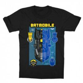 Fekete Batman gyerek rövid ujjú póló - Batmobile Blueprint