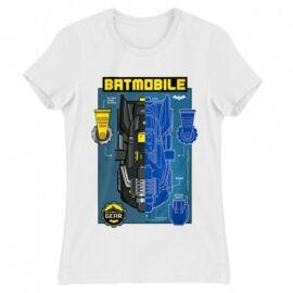 Fehér Batman női rövid ujjú póló - Batmobile Blueprint