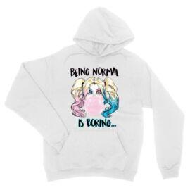 Fehér Harley Quinn unisex kapucnis pulóver - Being Normal Is Boring