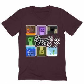Bordó Minecraft férfi V-nyakú póló - The Creeper Bunch