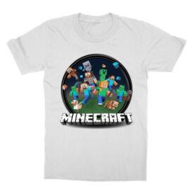 Fehér Minecraft gyerek rövid ujjú póló - Kerek Minecraft logó II.