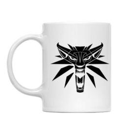 Fehér The Witcher bögre - Wolf head logo