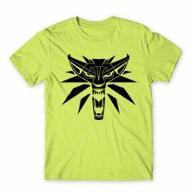 Almazöld The Witcher férfi rövid ujjú póló - Wolf head logo