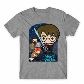 Sportszürke Harry Potter férfi rövid ujjú póló - Harry Potter chibi poster