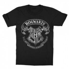 Fekete Harry Potter gyerek rövid ujjú póló - Hogwarts outline logo