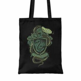 Fekete Harry Potter vászontáska - bevásárlótáska - Slytherin