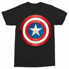 Fekete Amerika Kapitány férfi rövid ujjú póló - A pajzs