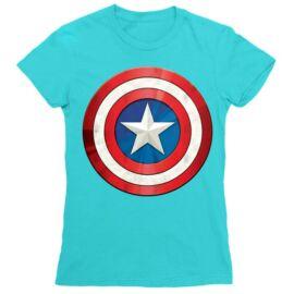Atollkék Amerika Kapitány női rövid ujjú póló - A pajzs