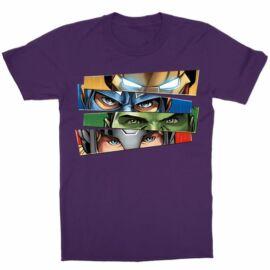 Sötétlila Bosszúállók - női rövid ujjú póló - Avengers Eyes