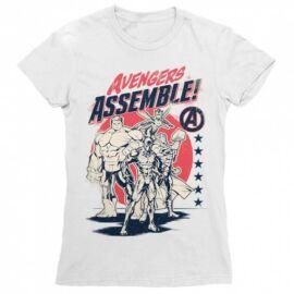 Fehér Bosszúállók női rövid ujjú póló - Avengers Assemble