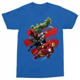 Királykék Bosszúállók férfi rövid ujjú póló - Avengers Trio