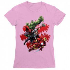 Világos rózaszín Bosszúállók női rövid ujjú póló - Avengers Trio