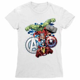Fehér Bosszúállók női rövid ujjú póló - Avengers Team
