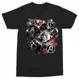 Fekete Bosszúállók férfi rövid ujjú póló - Avengers Team Grunge