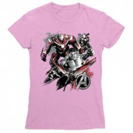 Világos rózaszín Bosszúállók női rövid ujjú póló - Avengers Team Grunge