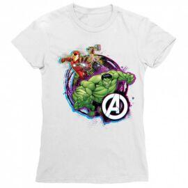 Fehér Bosszúállók női rövid ujjú póló - Avengers Team Neon