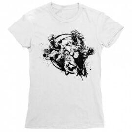Fehér Bosszúállók női rövid ujjú póló - Avengers Team Splash