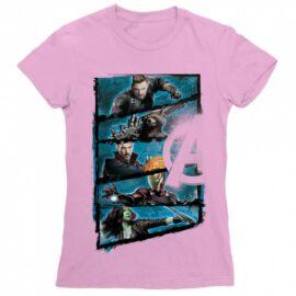 Világos rózsaszín Marvel Bosszúállók - Avengers női rövid ujjú póló - Infinity War Frame