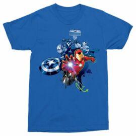 Királykék Bosszúállók férfi rövid ujjú póló - Avengers Team Graffiti