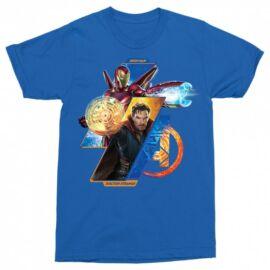 Királykék Doctor Strange férfi rövid ujjú póló - Vasember és Doctor Strange