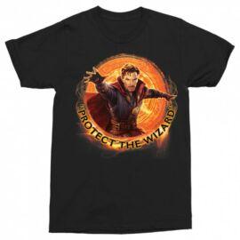 Fekete Doctor Strange férfi rövid ujjú póló - Protect the Wizard
