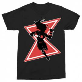 Fekete Fekete Özvegy férfi rövid ujjú póló - Black Widow Black and Red