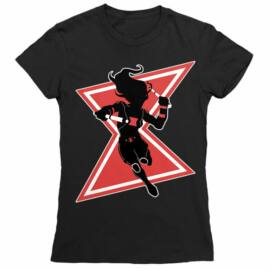 Fekete Fekete Özvegy női rövid ujjú póló - Black Widow Black and Red