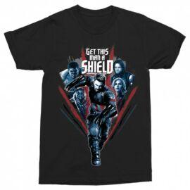 Fekete Bosszúállók férfi rövid ujjú póló - Get this man a Shield