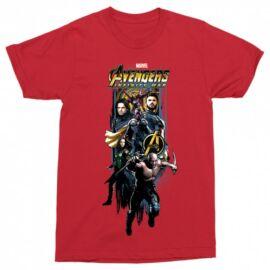 Piros Bosszúállók férfi rövid ujjú póló - Infinity War Stripe