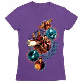 Sötétlila Bosszúállók női rövid ujjú póló - Infinity War Team