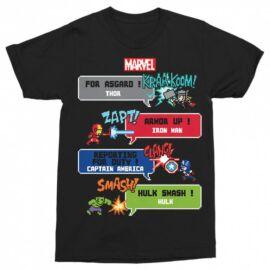Fekete Bosszúállók férfi rövid ujjú póló - Marvel Heroes 8bit